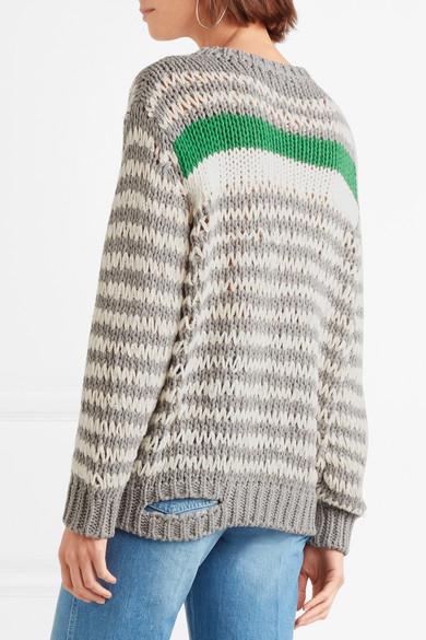 IRO Clapish gestreifter Pullover aus einer Baumwollmischung mit Cut-out