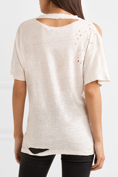 IRO Makla T-Shirt aus Leinen-Jersey in Distressed-Optik