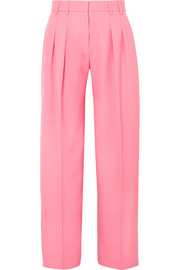 Pleated wool-twill wide-leg pants