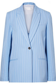 Pinstriped cotton-twill blazer