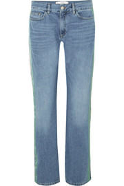 Striped mid-rise straight-leg jeans