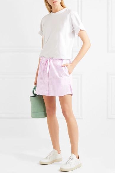 Victoria, Victoria Beckham Mehrlagige Shorts aus gestreifter Baumwolle