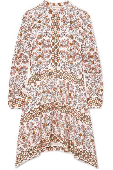 Celeste Printed Silk Mini Dress - Beige Tory Burch qtevzinL