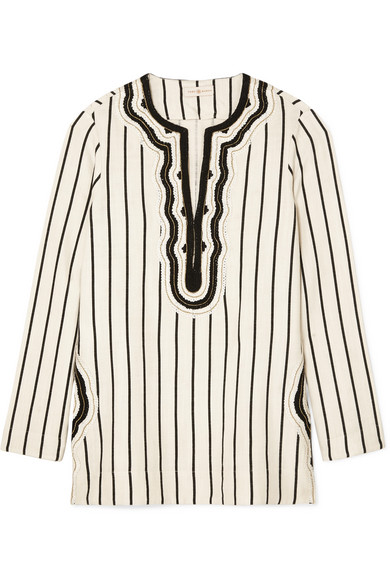 Tory Burch Tops Tory cord-trimmed striped canvas tunic