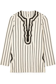 Tory cord-trimmed striped canvas tunic