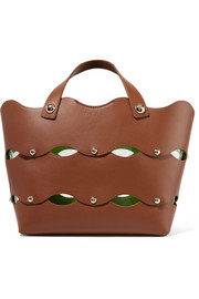 Sara Battaglia Clarissa studded scalloped leather tote