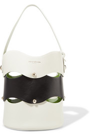 Sara Battaglia Clarissa studded scalloped two-tone leather bucket bag