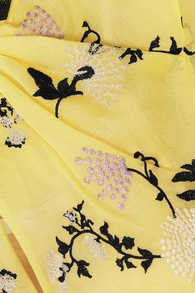 Erdem Celestina bestickte Robe aus Seidenorganza mit Volantärmeln