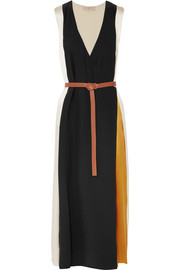 Tory Burch Clarice belted color-block silk-satin wrap dress