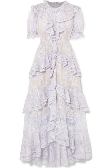 Garcelle Ruffled Cotton-blend Lace Gown - Lilac Erdem E3bR5HZ