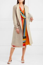 Mariella belted leather-trimmed poplin trench coat