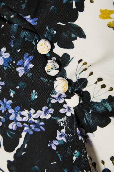 Erdem Jio Oberteil aus Faille aus einer Baumwollmischung mit floralem Print und Schößchen