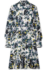 Bernette button-detailed floral-print silk crepe de chine dress