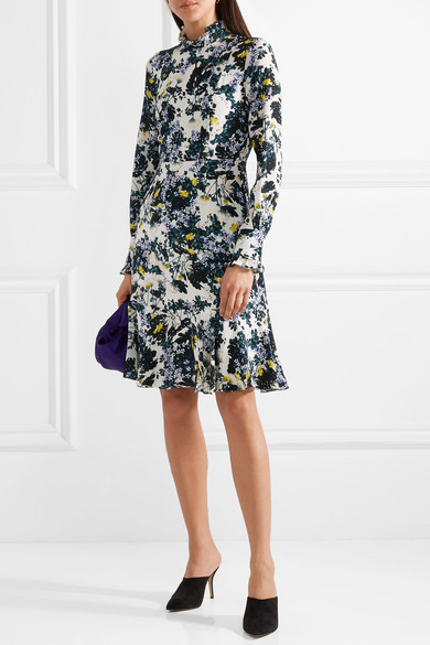 Erdem Bernette Kleid aus floral bedrucktem Crêpe de Chine aus Seide mit Knöpfen