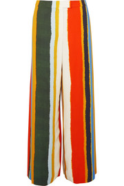 Fiona striped twill wide-leg pants
