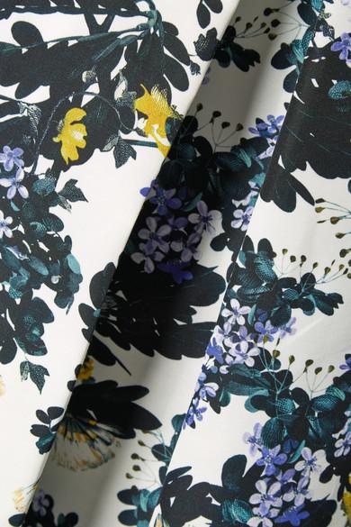 Erdem Ina Midirock aus floral bedruckter Faille aus einer Baumwollmischung mit Falten