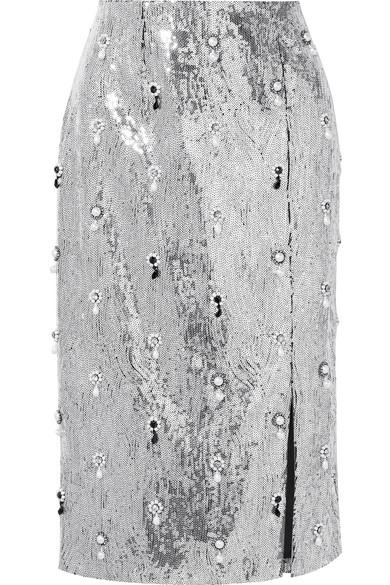 Erdem Tahira verzierter Rock aus Georgette mit Pailletten