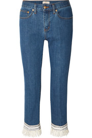 Connor fringed crochet-trimmed mid-rise straight-leg jeans