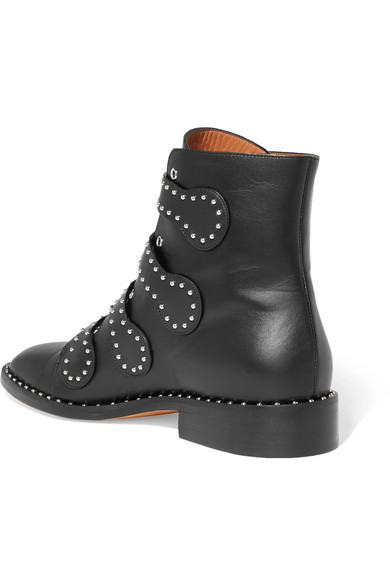 Givenchy Elegantly Decorated Rivet Ankle Boots Made Of Leather