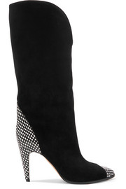 Snake-effect leather-trimmed suede knee boots