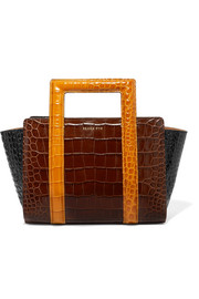 Madison color-block croc-effect leather tote