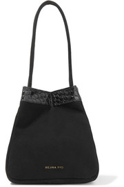 Rita croc-effect leather-trimmed suede bucket bag