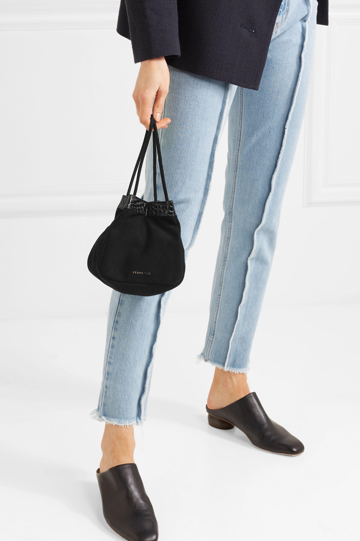REJINA PYO Rita croc-effect leather-trimmed suede bucket bag