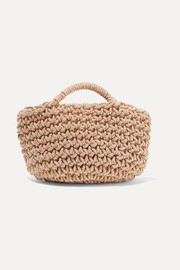 Rose woven satin tote