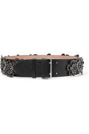 Alaïa Studded appliquéd lizard-effect leather waist belt