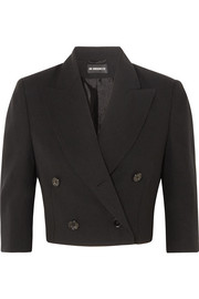 Cropped double-breasted wool blazer