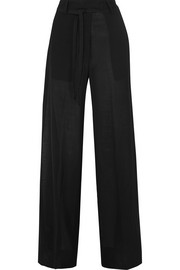 Wool-blend voile wide-leg pants