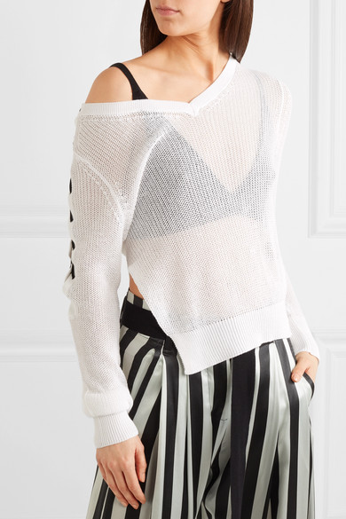 Ann Demeulemeester Asymmetric Cotton Knitwear Lace Detail