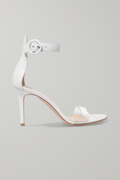 Gianvito Rossi Portofino 85 Sandalen aus Leder mit PVC-Besatz
