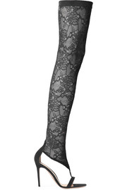 Gianvito Rossi Isabella 100 stretch-lace and suede over-the-knee boots