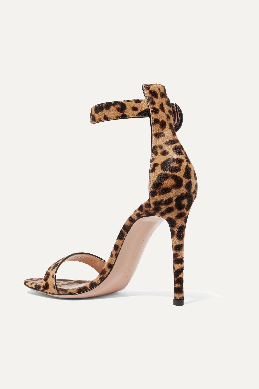 Gianvito Rossi Portofino 100 leopard-print calf hair sandals