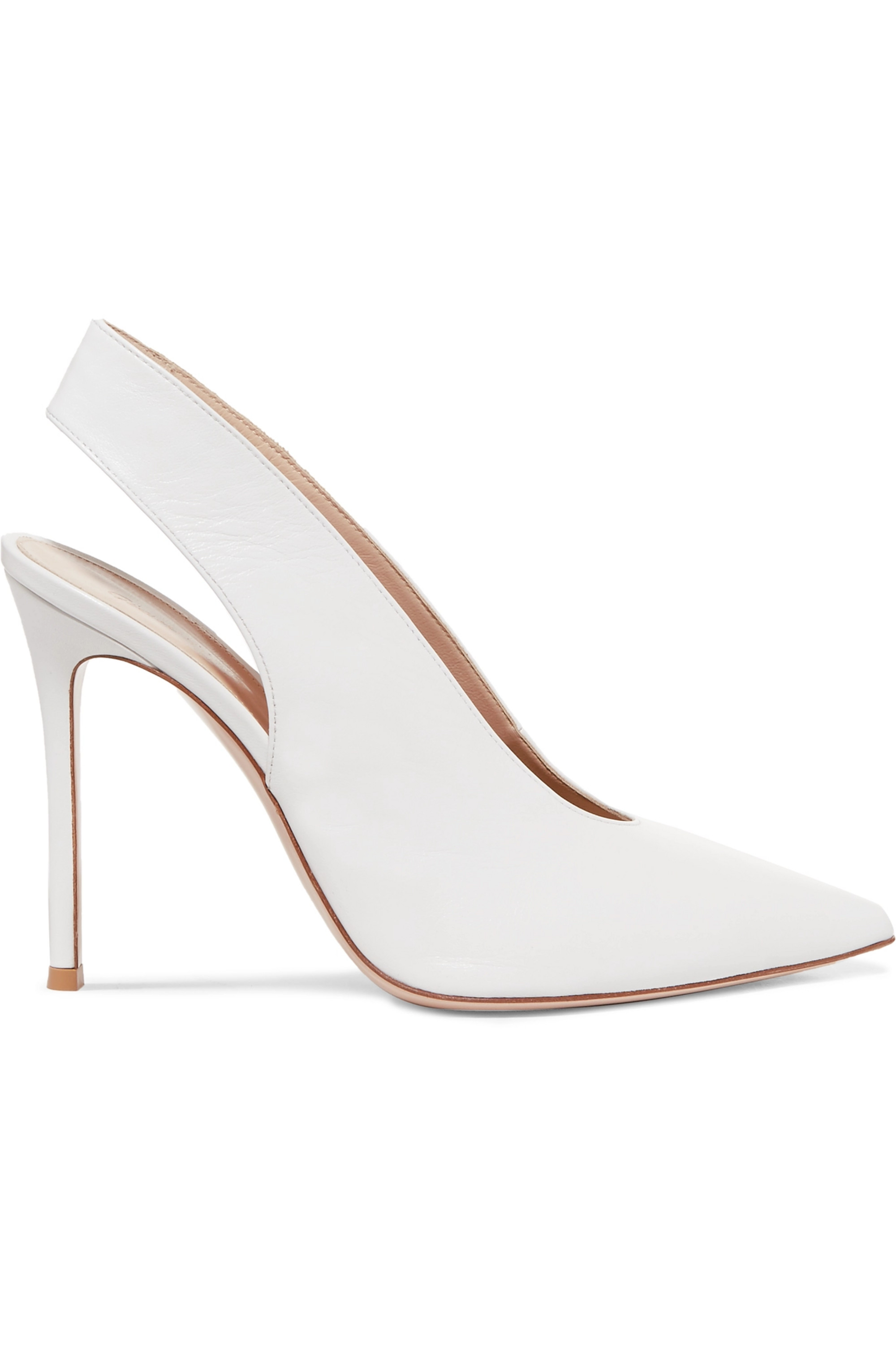 White 100 leather slingback pumps