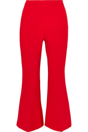 Cropped stretch-cady flared pants