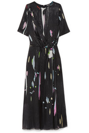 Giorgio Armani Metallic printed silk-blend chiffon maxi dress