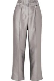 Giorgio Armani Cropped metallic silk-blend straight-leg pants