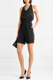 Halterneck piped cady playsuit