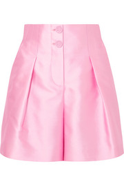 Pleated silk-blend satin shorts