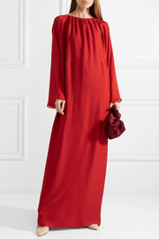 Nancy gathered washed silk-charmeuse gown