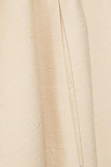 The Row Lapron Oversized-Jumpsuit aus Seide mit Flammgarneffekt und gefranstem Bein