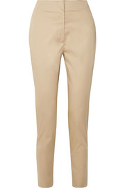 Vivienne cotton-blend poplin straight-leg pants