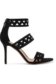Alaïa 90 laser-cut suede sandals