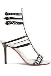 Two-tone laser-cut leather sandals