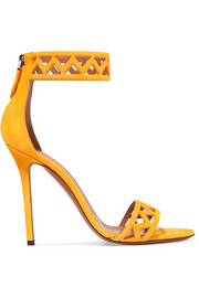 Alaïa 110 laser-cut suede sandals
