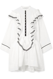 Ali ruffled cotton-voile and point d'esprit mini dress