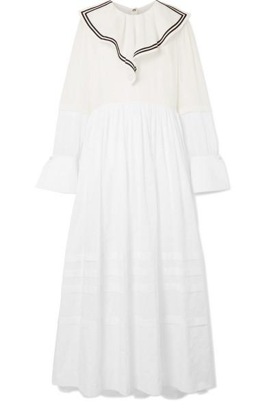 Sailor Ruffled Cotton-voile And Point Desprit Maxi Dress - White Philosophy di Lorenzo Serafini 6u9ZJZ6