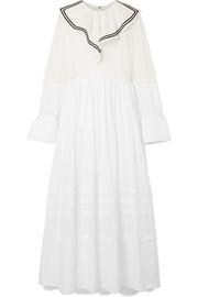 Sailor ruffled cotton-voile and point d'esprit maxi dress